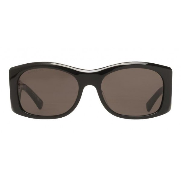 Balenciaga - Thick Round Acetate Gray Dark Sunglasses with Gray Lenses - Sunglasses - Balenciaga Eyewear