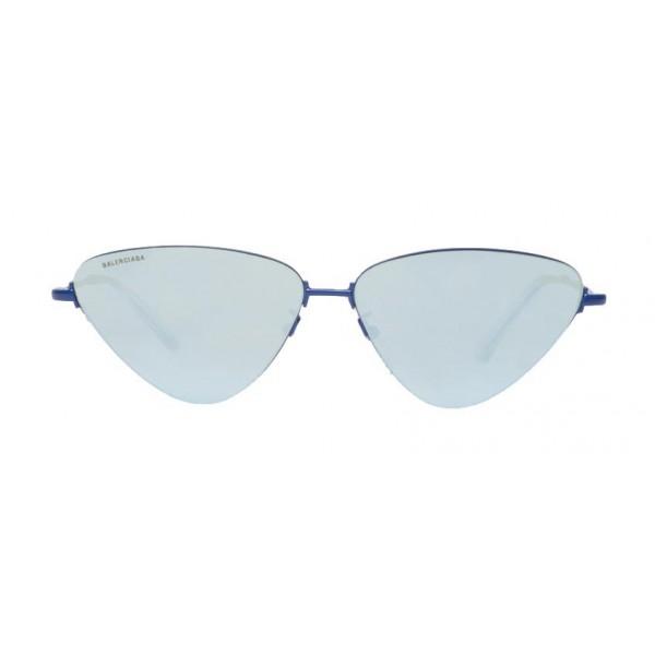 Balenciaga - Occhiali da Sole Invisible Cat in Metallo Blu con Lenti Blu - Occhiali da Sole - Balenciaga Eyewear