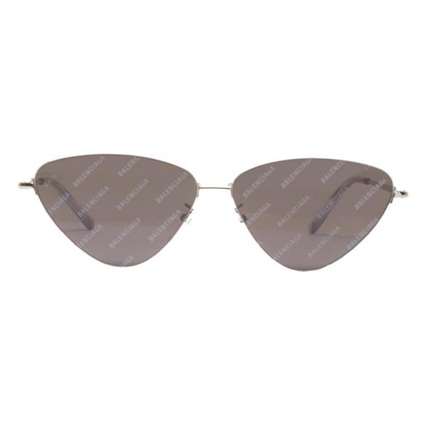 Balenciaga - Occhiali da Sole Invisible Cat in Metallo Argentato con Lenti Grigie e Logo All-Over - Balenciaga Eyewear