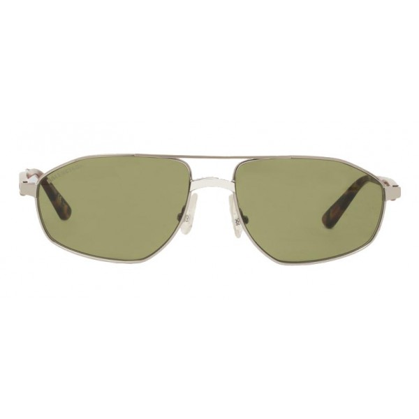 Balenciaga - Vintage Aviator Sunglasses in Silver Metal and Vintage Green Lenses - Sunglasses - Balenciaga Eyewear