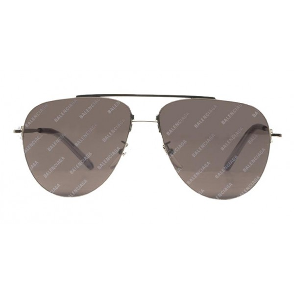 Balenciaga - Occhiali da Sole Invisible Aviator in Metallo Argentato con Lenti Grigie e Logo All-Over - Balenciaga Eyewear