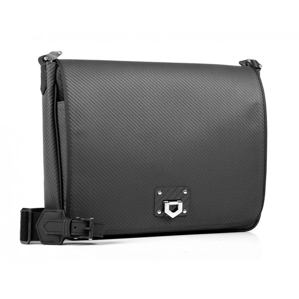 TecknoMonster - Borsa Messenger Peak Pat in Fibra di Carbonio - Black Carpet Collection
