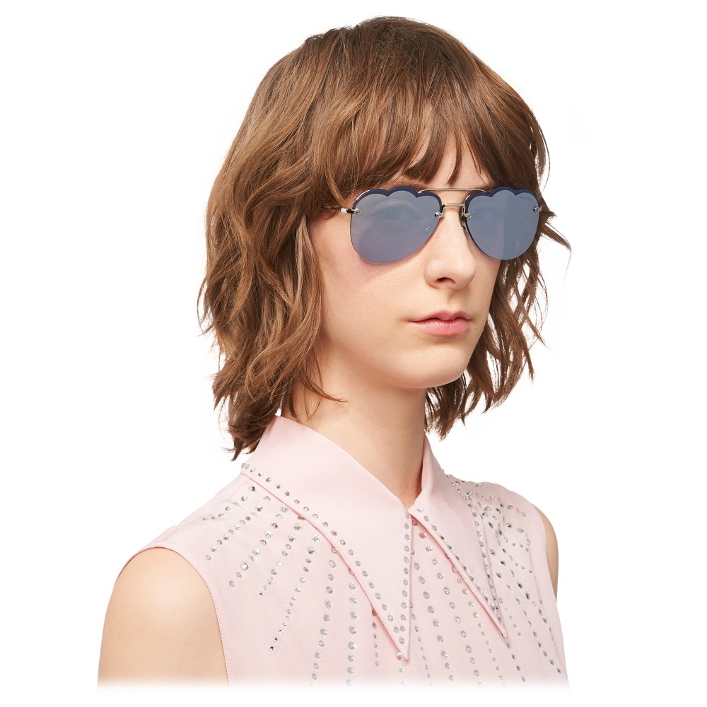 eb5256fd5c ... Miu Miu - Miu Miu Noir Sunglasses - Aviator Cloud - Periwinkle Mirror -  Sunglasses ...