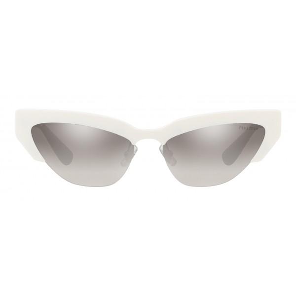 Miu Miu - Occhiali Miu Miu da Sfilata - Cat Eye - Bianco Antracite Argento Specchiato - Occhiali d Sole - Miu Miu Eyewear