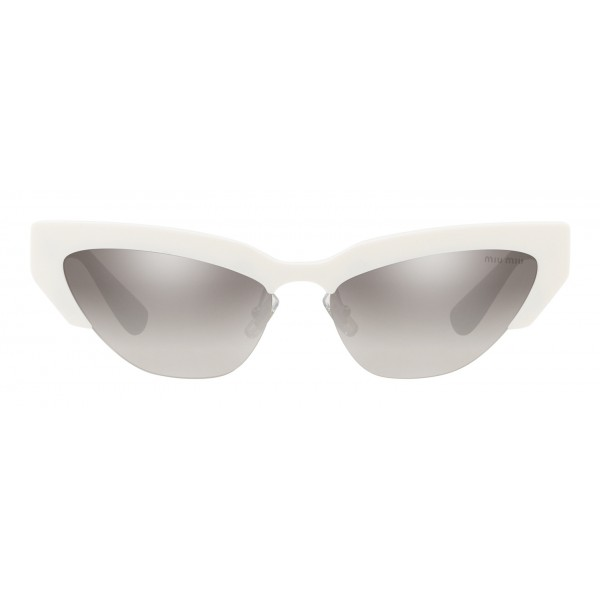 Miu Miu - Occhiali Miu Miu da Sfilata - Cat Eye - Bianco Antracite Argento Specchiato - Occhiali da Sole - Miu Miu Eyewear