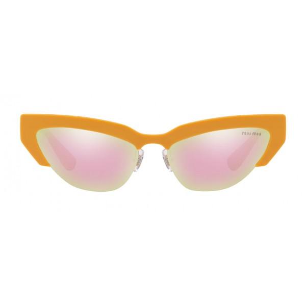 Miu Miu - Occhiali Miu Miu da Sfilata - Cat Eye - Arancio Rosa Specchiato - Occhiali da Sole - Miu Miu Eyewear
