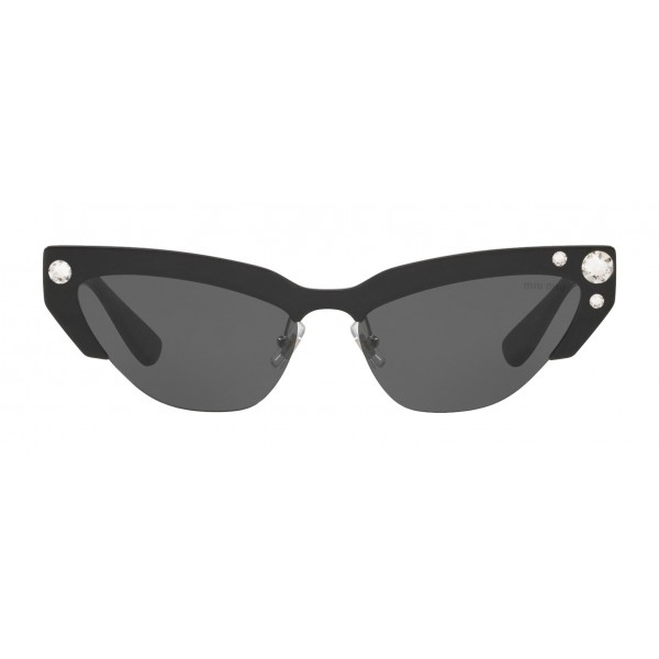 Miu Miu - Miu Miu Catwalk Sunglasses with Crystals - Cat Eye - Carbon - Sunglasses - Miu Miu Eyewear