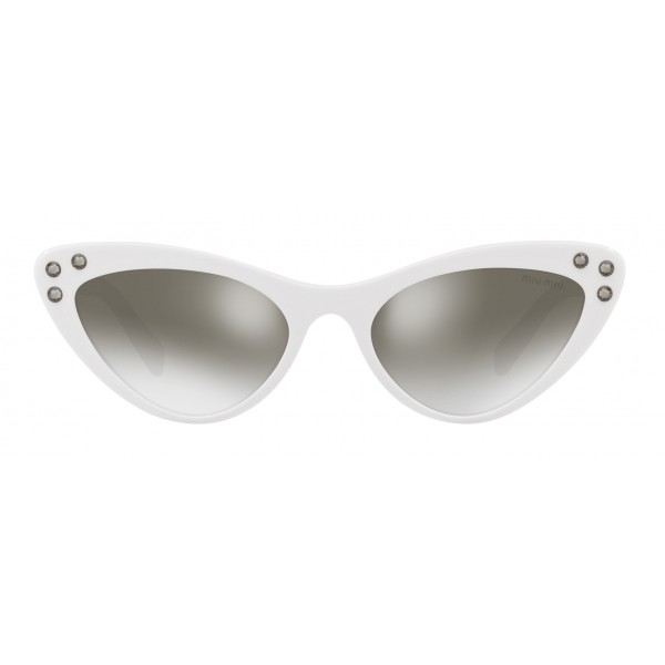 Miu Miu - Miu Miu Catwalk Sunglasses with Crystals - Cat Eye - White Anthracite Silver - Sunglasses - Miu Miu Eyewear