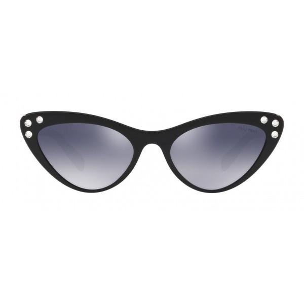 Miu Miu - Occhiali Miu Miu da Sfilata con Cristalli - Cat Eye - Inchiostro Specchiato - Occhiali d Sole - Miu Miu Eyewear