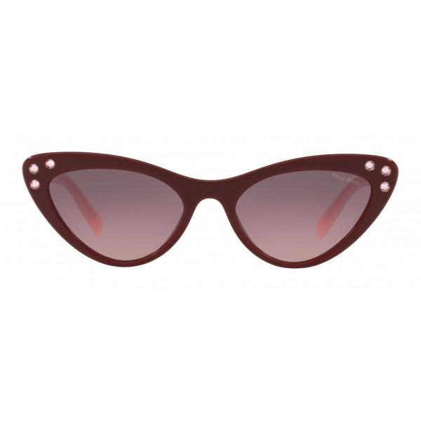 Miu Miu - Occhiali Miu Miu da Sfilata con Cristalli - Cat Eye - Grigio Sfumato Alabastro - Occhiali d Sole - Miu Miu Eyewear