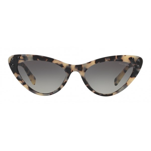 Miu Miu - Miu Miu Catwalk Sunglasses with Crystals - Cat Eye - Havana Gray Gradient - Sunglasses - Miu Miu Eyewear