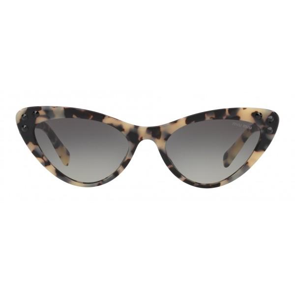 Miu Miu - Occhiali Miu Miu da Sfilata con Cristalli - Cat Eye - Havana Grigio Sfumato - Occhiali d Sole - Miu Miu Eyewear