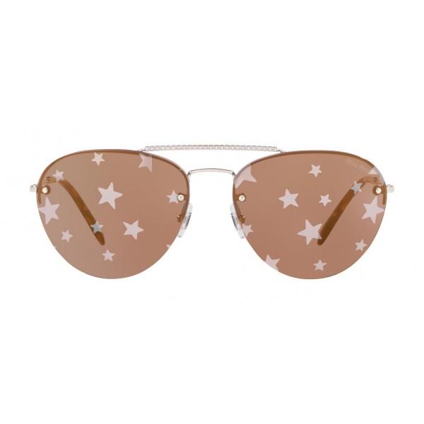 e2bfad087 Miu Miu - Miu Miu Noir Sunglasses - Aviator - Rose Mirrored with Silver  Stars -