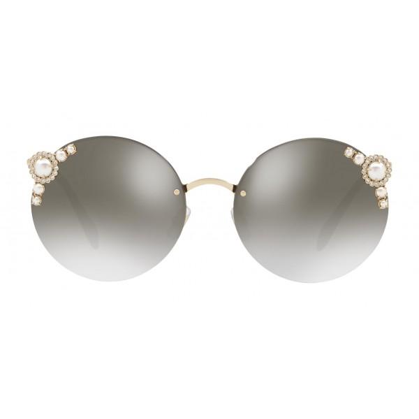 Miu Miu - Miu Miu Manière with Pearls Sunglasses - Round - Anthracite Gradient - Sunglasses - Miu Miu Eyewear