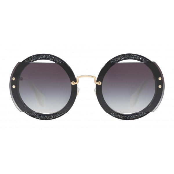 65bd107d1d4 Miu Miu - Miu Miu Reveal with Glitter Sunglasses - Round - Smoke -  Sunglasses -