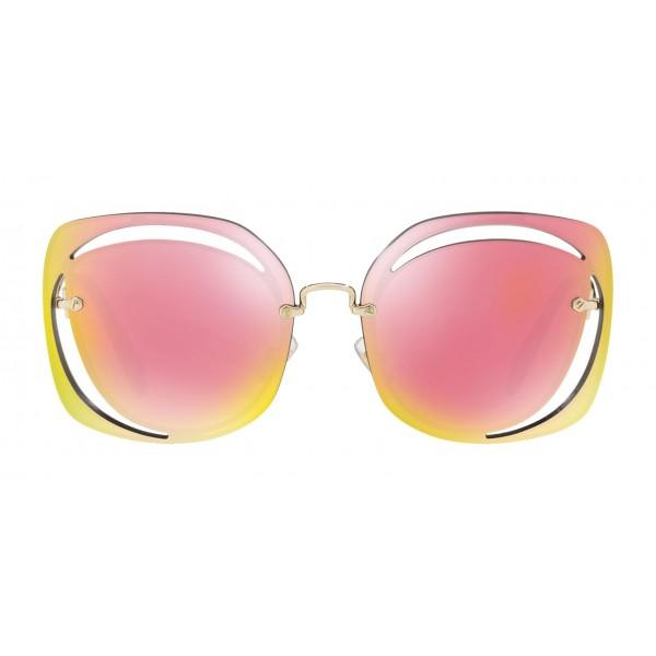 f0520302a5a1 Miu Miu - Miu Miu Scénique with Cut Cut Sunglasses - Flat - Rose Mirrored -