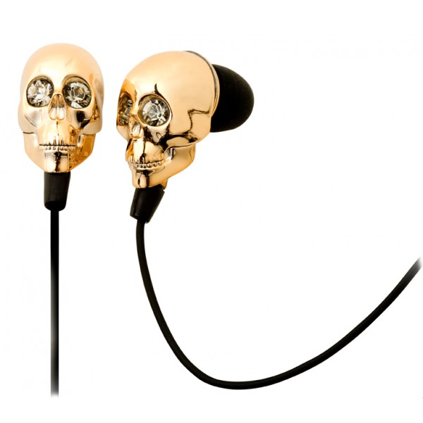 2 ME Style - Earphones In-Ear Gold Skull & Swarovski Crystals