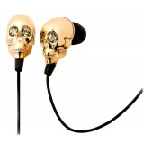 2 ME Style - Auricolari In-Ear Teschio Oro e Cristalli Swarovski