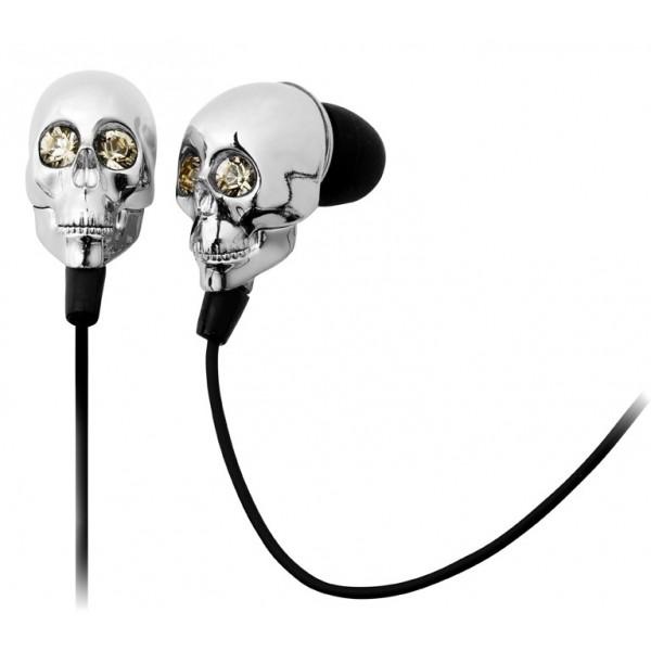 2 ME Style - Earphones In-Ear Silver Skull & Swarovski Crystals