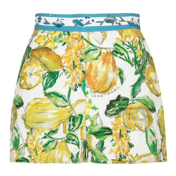 Leda Di Marti - Pantaloncini Lamantino - Stampa Bianco Cedro - Haute Couture Made in Italy - Abito di Alta Qualità Luxury