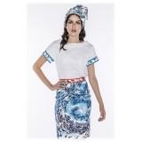 Leda Di Marti - Maglietta LDM - Stampa Bianco Oceano - Haute Couture Made in Italy - Abito di Alta Qualità Luxury