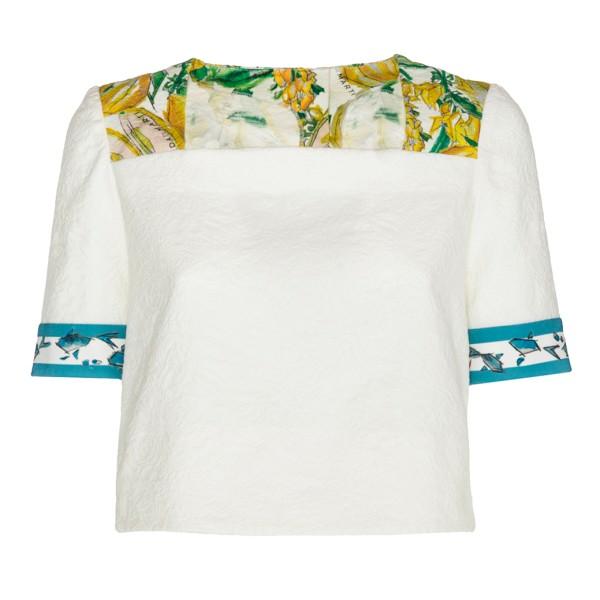 Leda Di Marti - Sowerby Top - Stampa Bianco Cedro - Haute Couture Made in Italy - Abito di Alta Qualità Luxury