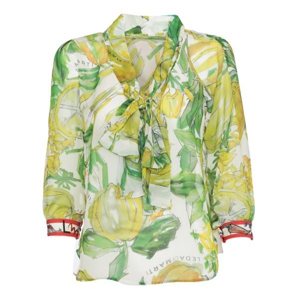 Leda Di Marti - Camicia a Maniche Lunghe Indo - Stampa Cedro - Haute Couture Made in Italy - Abito di Alta Qualità Luxury