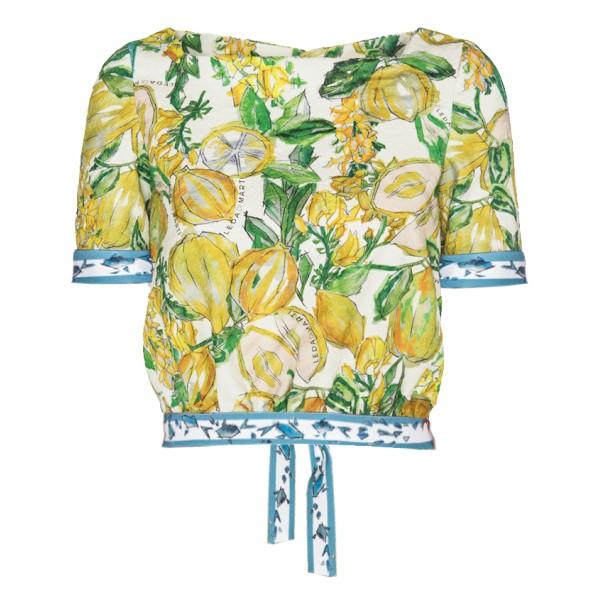 Leda Di Marti - Krill Top - Stampa Cedro con Decorazioni Oceano - Haute Couture Made in Italy - Abito di Alta Qualità Luxury