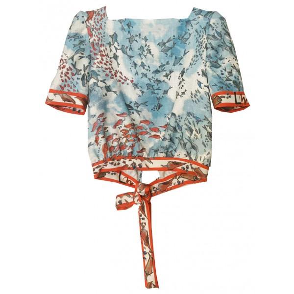 Leda Di Marti - Krill Top - Stampa Oceano con Decorazioni Rosse - Haute Couture Made in Italy - Abito di Alta Qualità Luxury