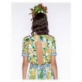 Leda Di Marti - Krill Top - Cedar Print Ocean Decoration - Haute Couture Made in Italy - Luxury High Quality Dress