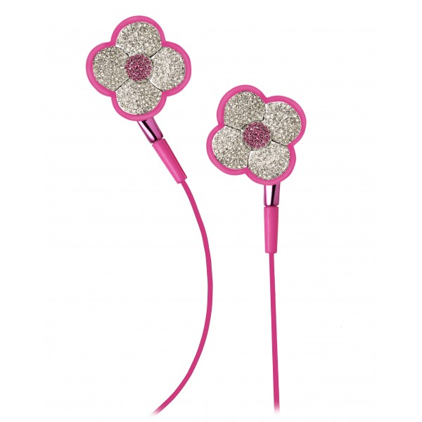 2 ME Style - Earphones In-Ear Pink Flowers Swarovski