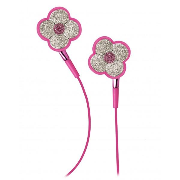 2 ME Style - Earphones In-Ear Pink Flowers Swarovski