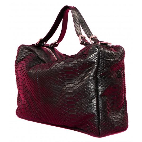 Garage par Reveil - Sharon Bag - Borsa in Pitone - Nera - Handmade in Italy - Accessorio di Alta Qualità Luxury