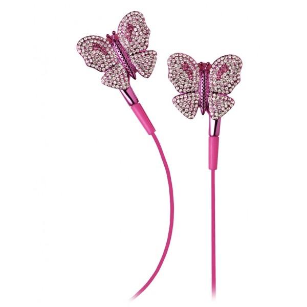 2 ME Style - Auricolari In-Ear Farfalla Rosa Swarovski