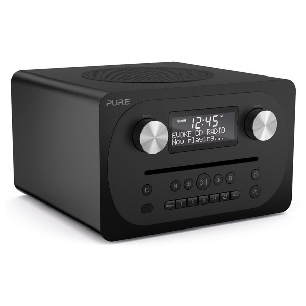 Pure - Evoke C-D4 - Siena Black - Compact All-in-One Music System with Bluetooth - High Quality Digital Radio