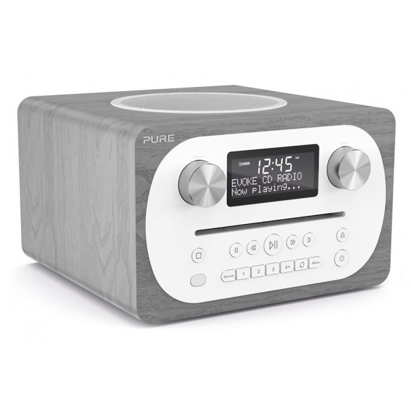 Pure - Evoke C-D4 - Grey Oak - Compact All-in-One Music System with Bluetooth - High Quality Digital Radio