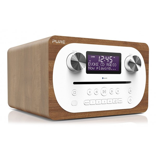 Pure - Evoke C-D4 - Walnut - Compact All-in-One Music System with Bluetooth - High Quality Digital Radio