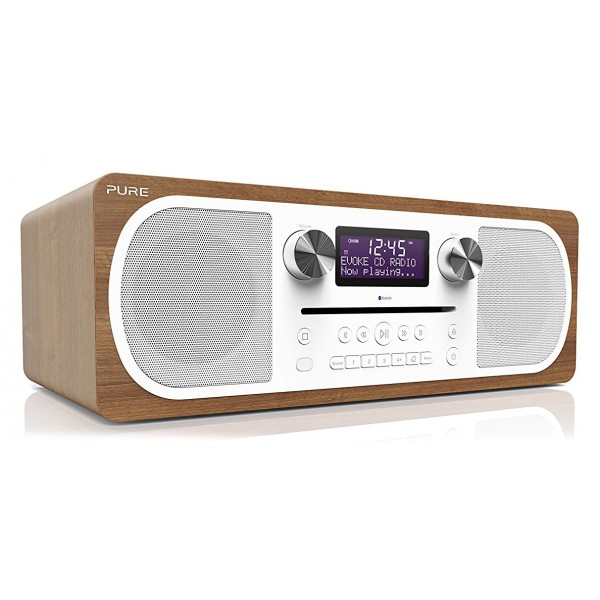 Pure - Evoke C-D6 - Walnut - Stereo All-in-One Music System with Bluetooth - High Quality Digital Radio