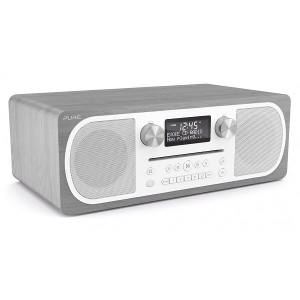 Pure - Evoke C-D6 - Grey Oak - Stereo All-in-One Music System with Bluetooth - High Quality Digital Radio