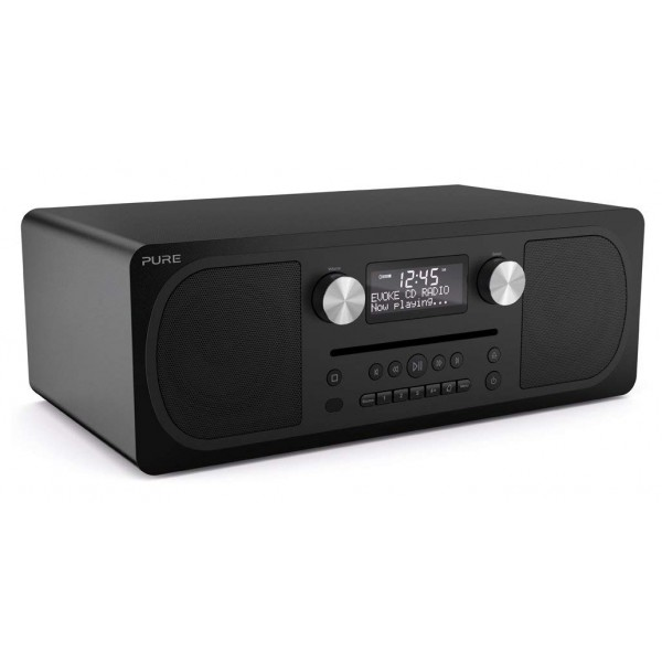 Pure - Evoke C-D6 - Siena Black - Stereo All-in-One Music System with Bluetooth - High Quality Digital Radio