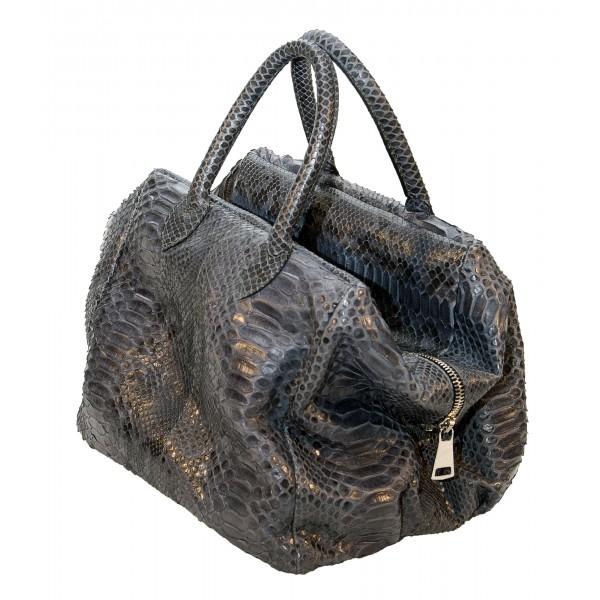 Garage par Reveil - Sally Bag - Borsa in Pitone - Nero Blu Oro - Handmade in Italy - Accessorio di Alta Qualità Luxury
