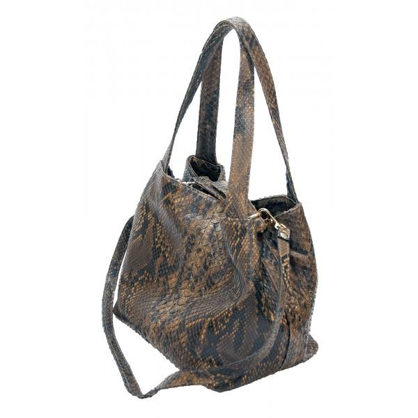 Garage par Reveil - Giada Bag - Borsa in Pitone - Marrone Nero - Handmade in Italy - Accessorio di Alta Qualità Luxury