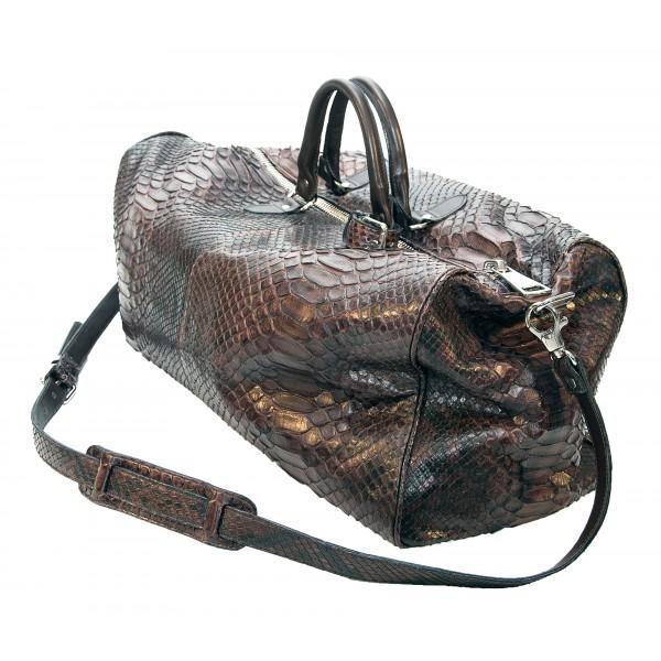 Garage par Reveil - Voyager Bag - Borsa in Pitone - Marrone Nero - Handmade in Italy - Accessorio di Alta Qualità Luxury