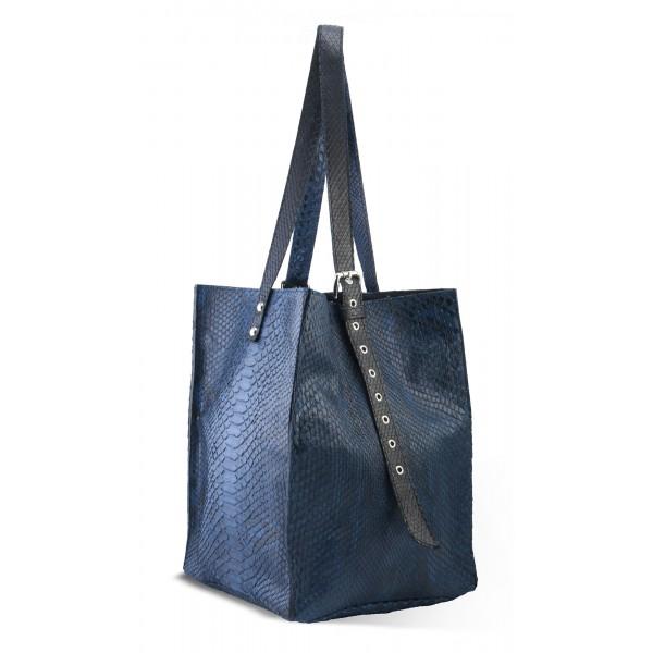 Garage par Reveil - Aria Bag - Borsa in Pitone - Blu - Handmade in Italy - Accessorio di Alta Qualità Luxury