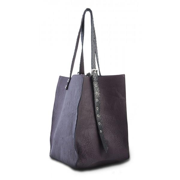 Garage par Reveil - Aria Bag - Borsa in Pelle e Pitone - Viola - Handmade in Italy - Accessorio di Alta Qualità Luxury