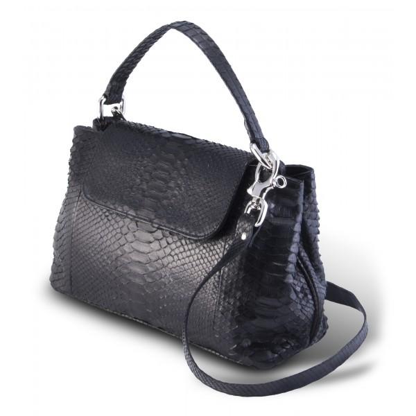 Garage par Reveil - Vita Maxi Bag - Borsa in Pitone - Nero - Handmade in Italy - Accessorio di Alta Qualità Luxury