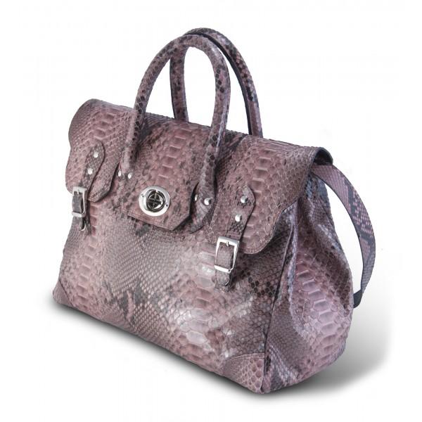 Garage par Reveil - Week End Bag - Borsa in Pitone - Rosa - Handmade in Italy - Accessorio di Alta Qualità Luxury