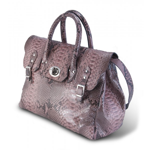 Garage par Reveil - Week End Bag - Python Bag - Pink - Handmade in Italy - Luxury High Quality Accessory