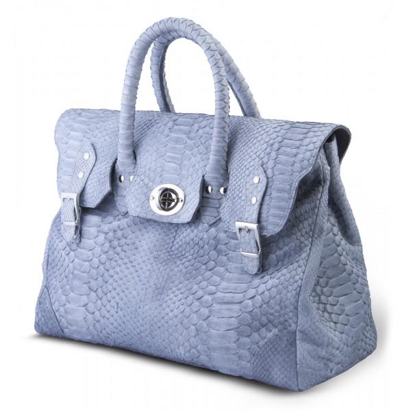 Garage par Reveil - Week End Bag - Borsa in Pitone - Azzurra - Handmade in Italy - Accessorio di Alta Qualità Luxury