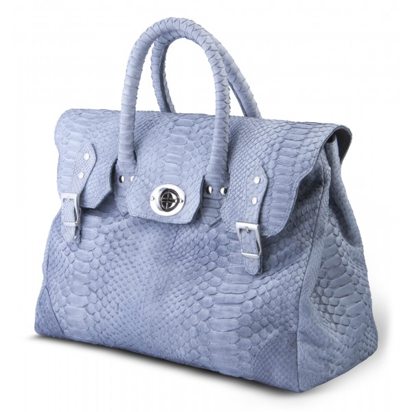 Garage par Reveil - Week End Bag - Python Bag - Light Blue - Handmade in Italy - Luxury High Quality Accessory